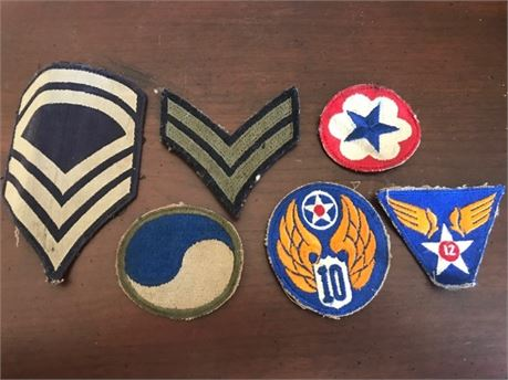 6 WWII era Military Patches - Chevrons, 12th Army Air Corps, 10th AAF, and More