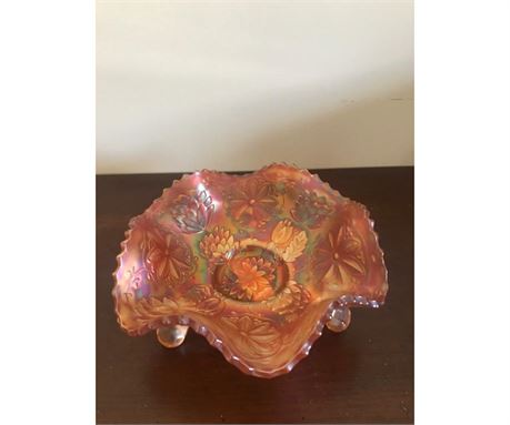 Antique Carnival Glass 3-Footed Bowl Lotus