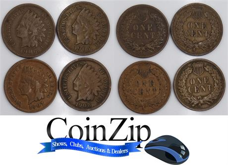 Group of 4 Indian Head Cents Penny