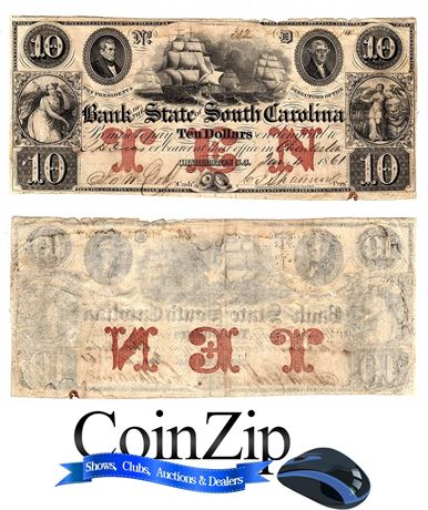 1861 Bank of the State of South Carolina $10 Charleston SC Obsolete Bank Note
