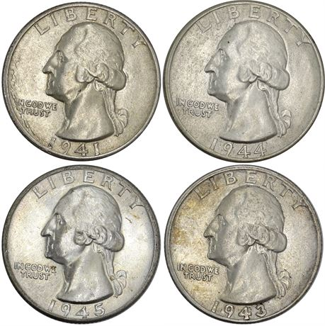 4 Different date Washington Quarters About Uncirculated