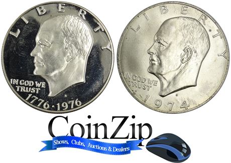 1976-S Proof & 1974-S UNC Ike Eisenhower Dollars 40% Silver