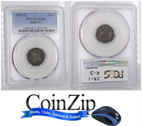 1823/2 Capped Bust Dime Small E's PCGS VG08 JR-1 Overdate